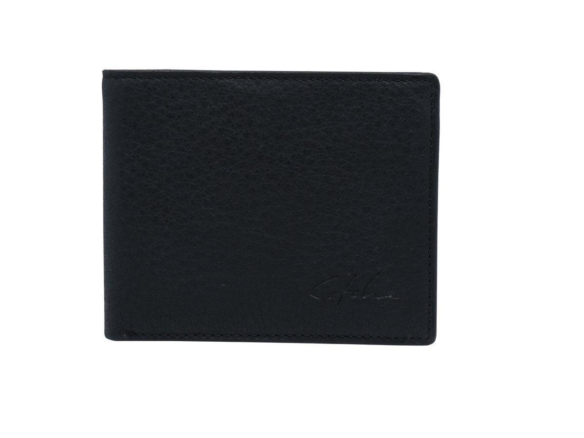 時尚真皮銀包 - 荔枝紋 - 黑色