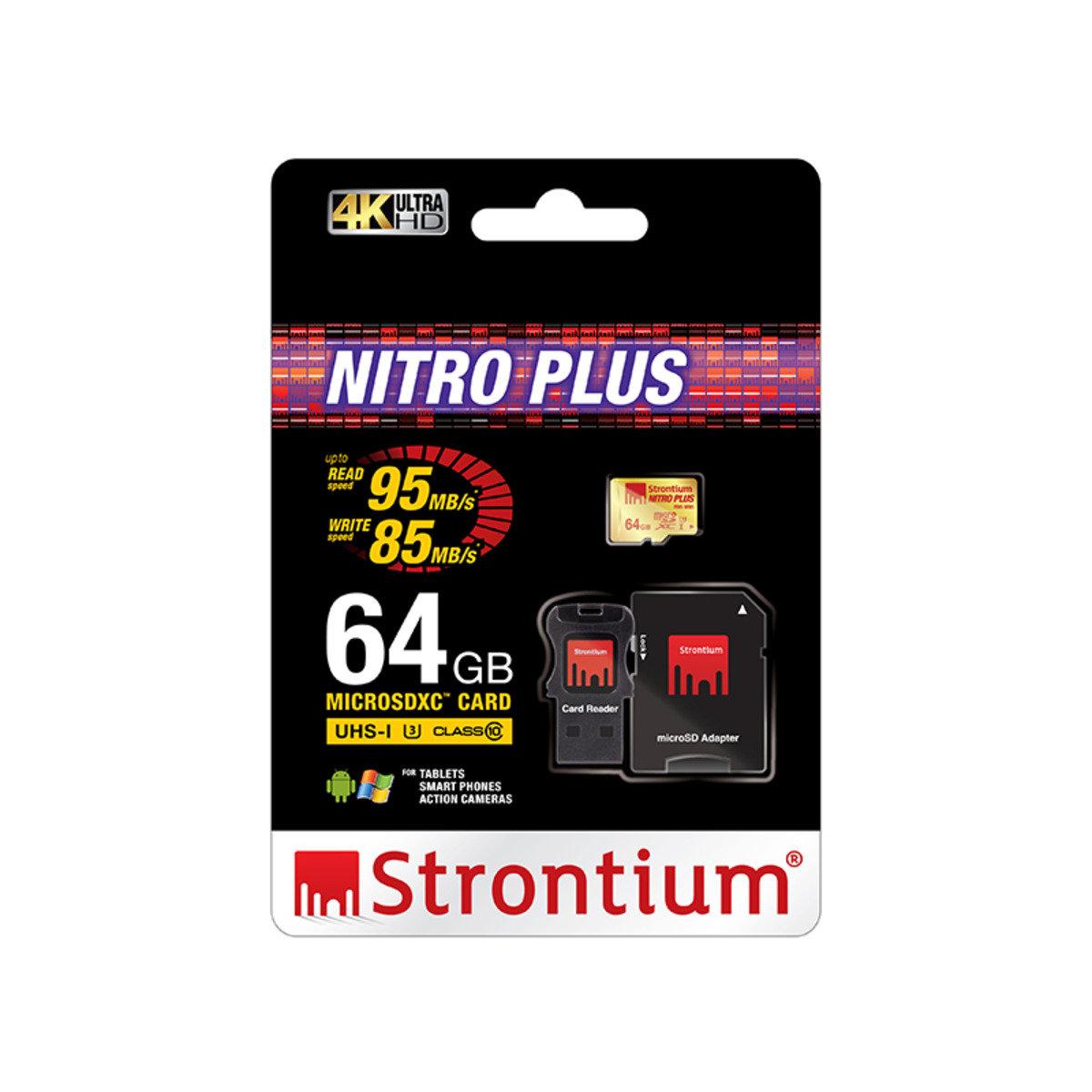 NITRO PLUS 64GB UHS-1 (U3) Class 10 micro SD SDXC 超高速4K專用記憶卡