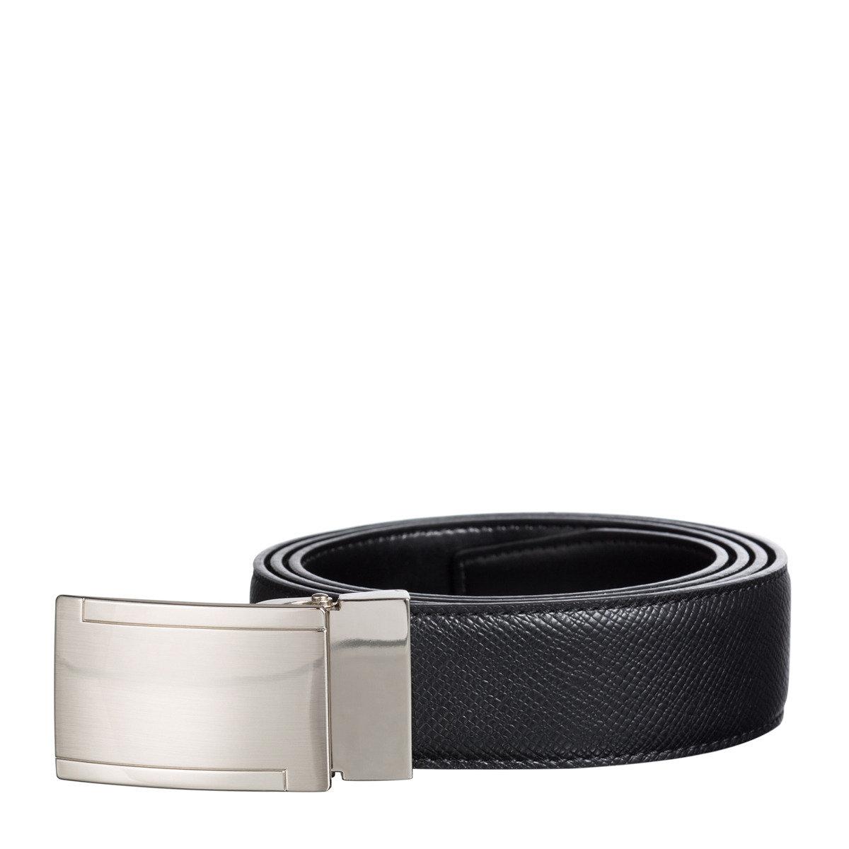 Saffiano 牛皮時尚平面金屬扣皮帶