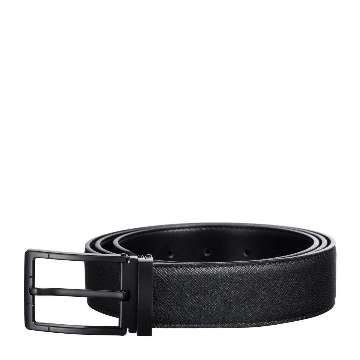 Saffiano 牛皮時尚針扣皮帶