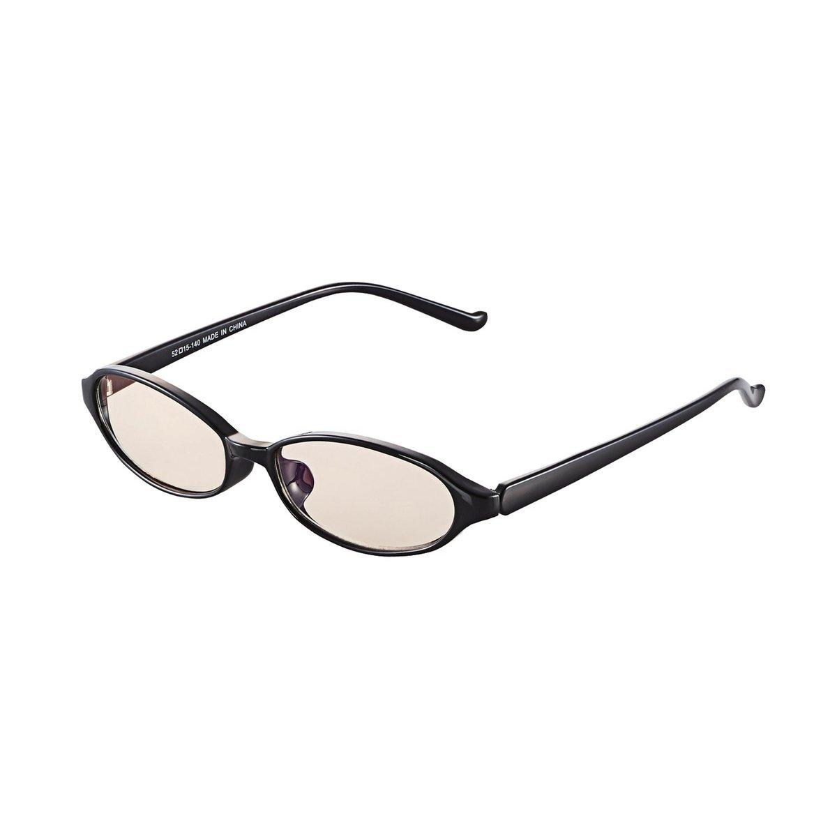 鵝蛋形鏡框防藍光眼鏡(黑色)