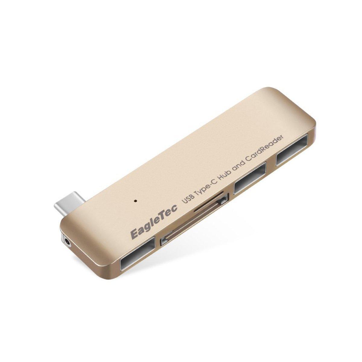 USB Type C集線器+讀卡器 - 金色