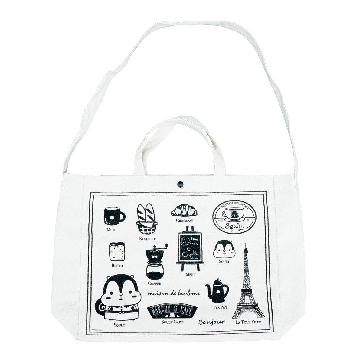 咖啡店圖案帆布手提袋
