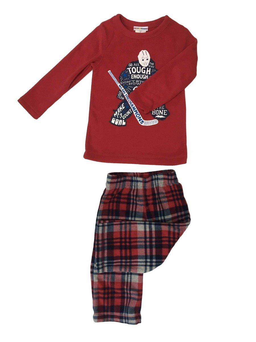 小童搖粒絨睡衣套裝(紅色)