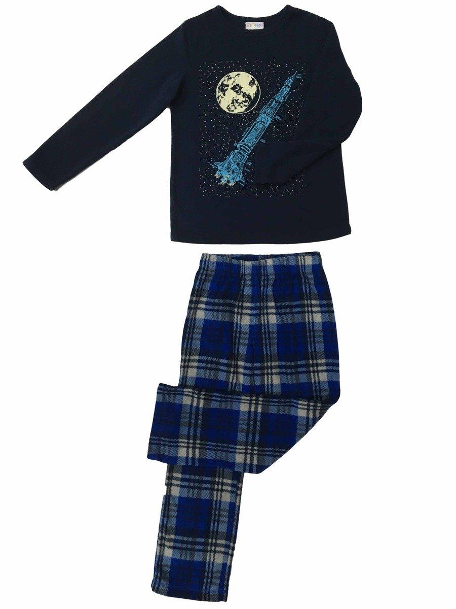 成人搖粒絨睡衣套裝(藍色)