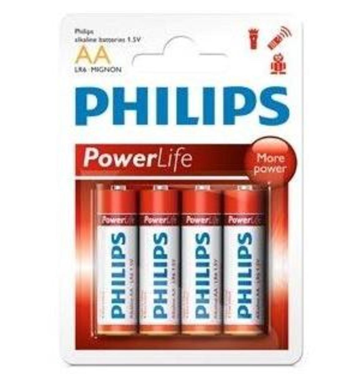 Philip 飛利浦 4粒2A鹼性電池, LR6P4B/97