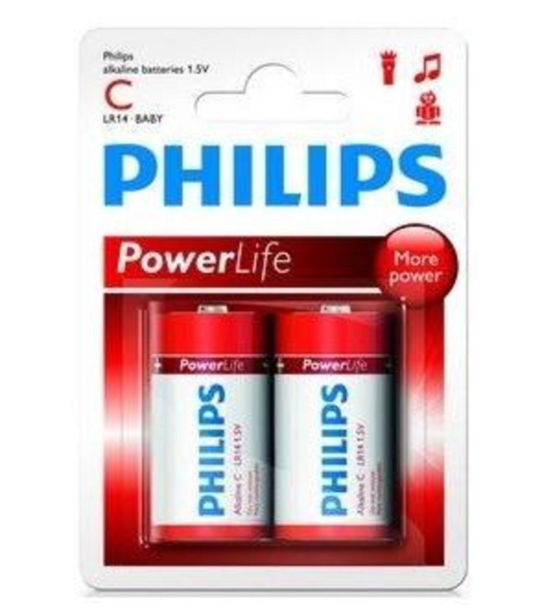 Philip 飛利浦 2粒2C鹼性電池, LR14P2B/97