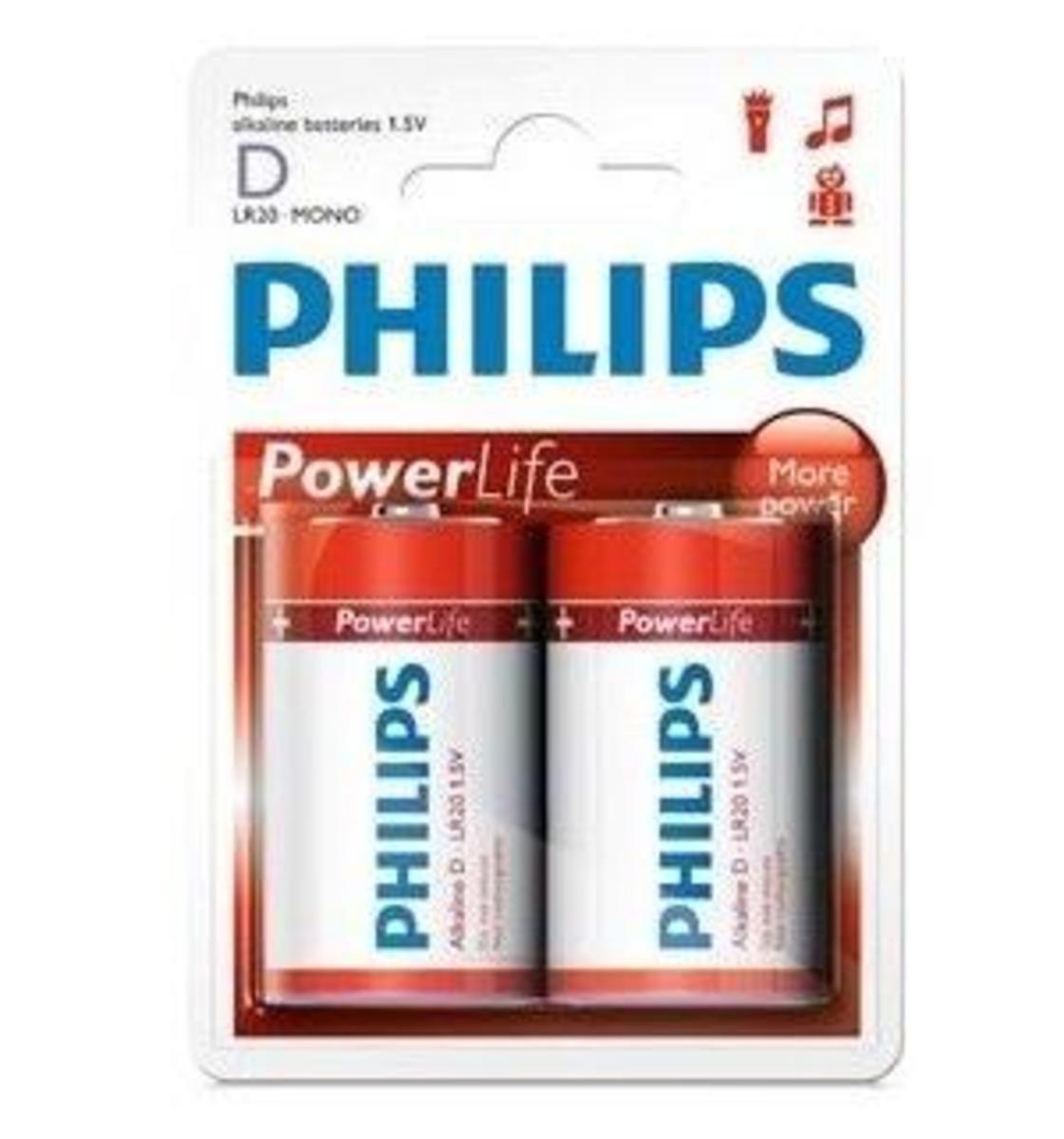 Philip 飛利浦 2粒2D鹼性電池, LR20P2B/97
