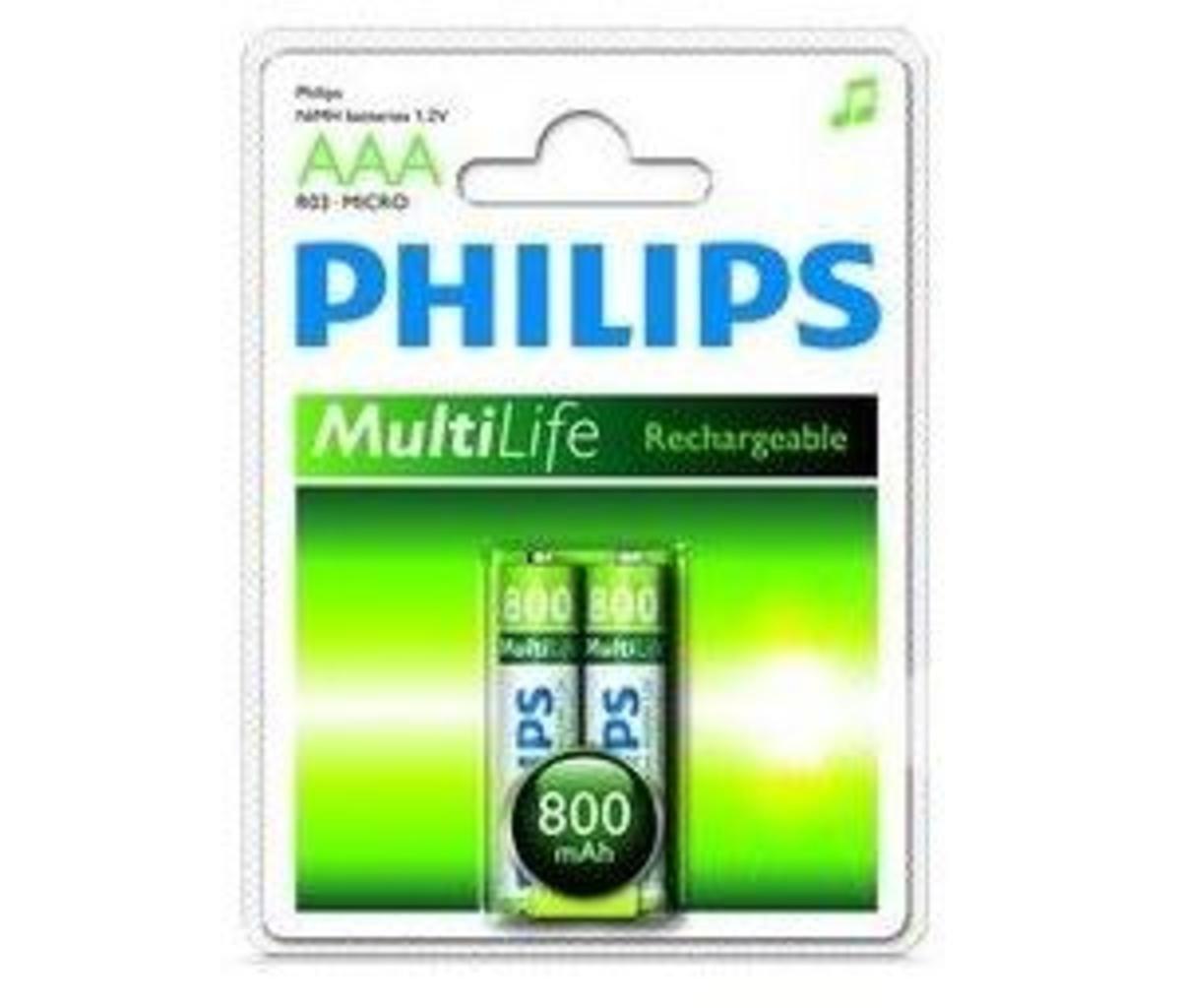 Philip 飛利浦 2粒3A800mAh充電電池, R03B2A80/97