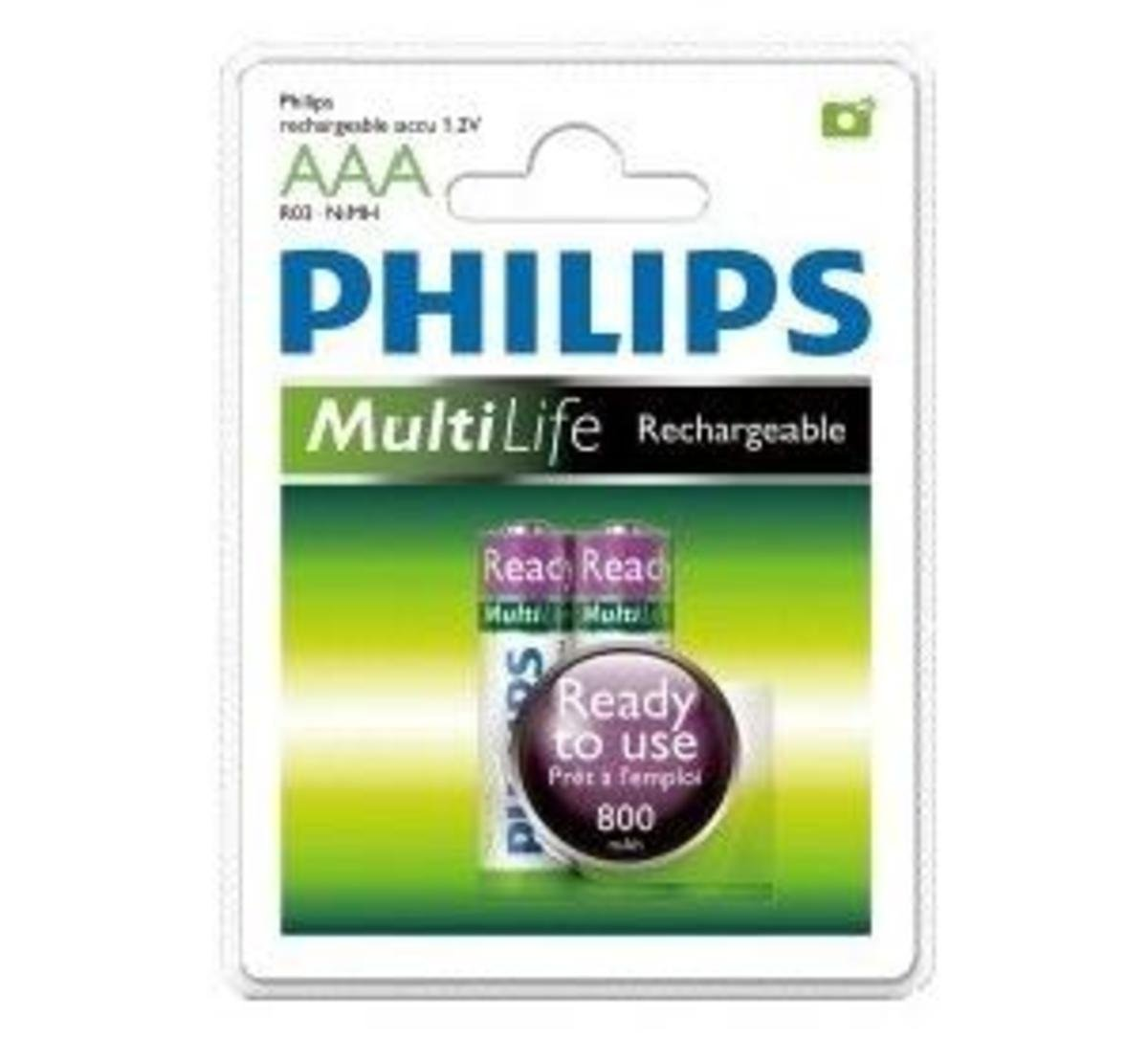 Philip 飛利浦 2粒3A800mAh環保充電電池, R03B2RTU8/97