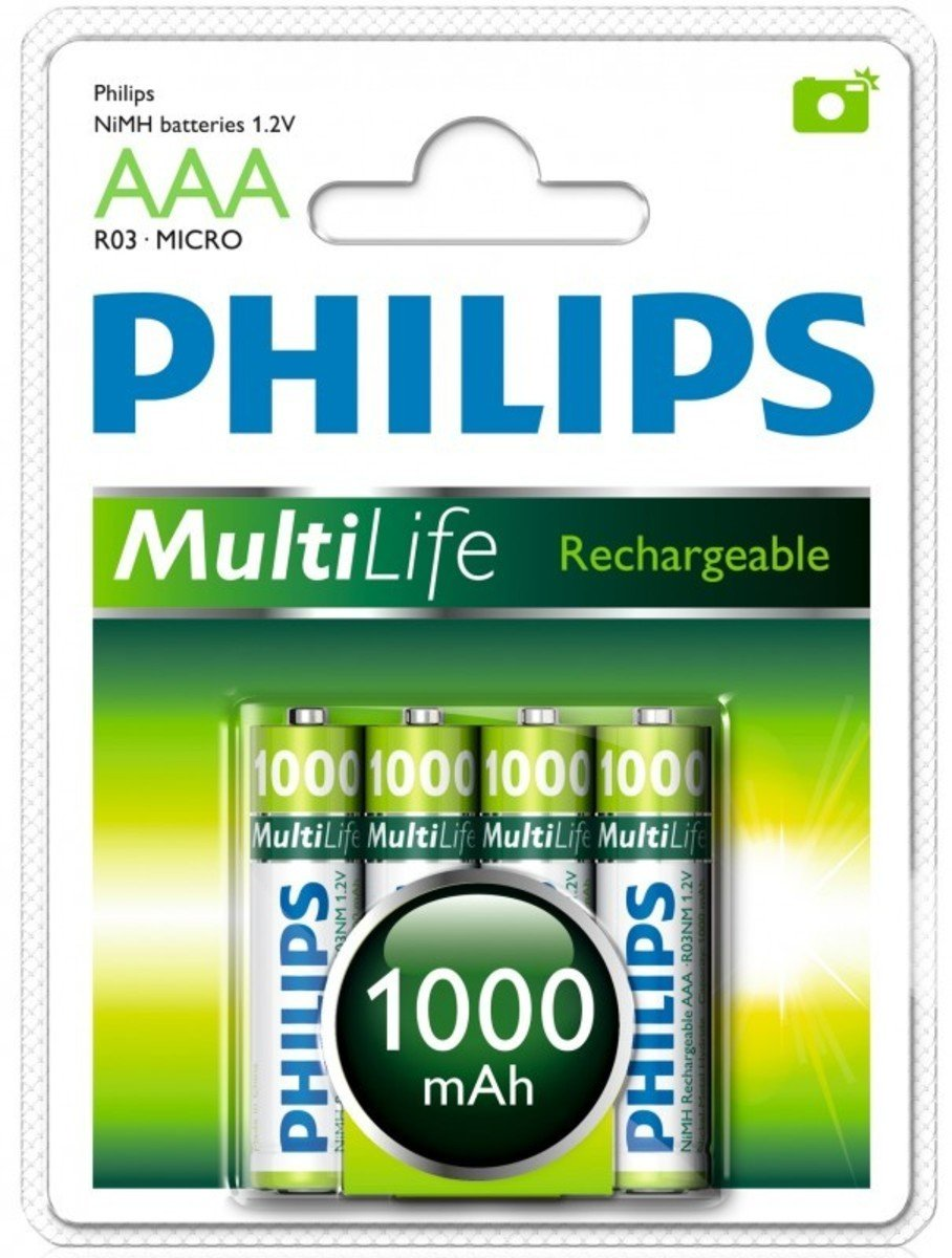 Philip 飛利浦 4粒3A1000mAh充電電池, R03B4A10/97