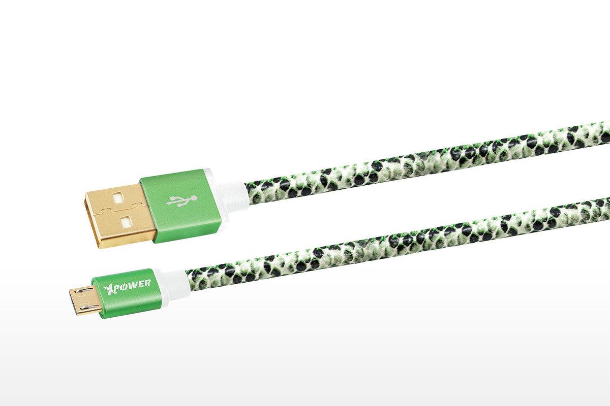 Xpower Micro USB 蛇皮傳輸充電線 1.2米