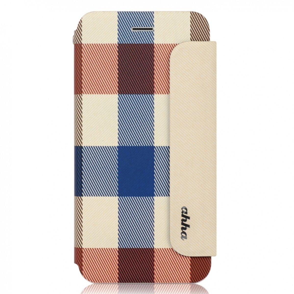 """Ahha iPhone 6 Plus (5.5"""") 米白藍色格仔手機套"""