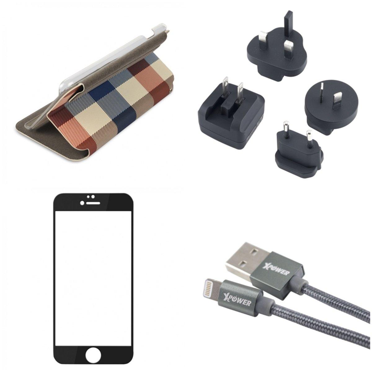 iPhone 6 Plus 充電保護套裝 (一套四件) -杏色格手機套