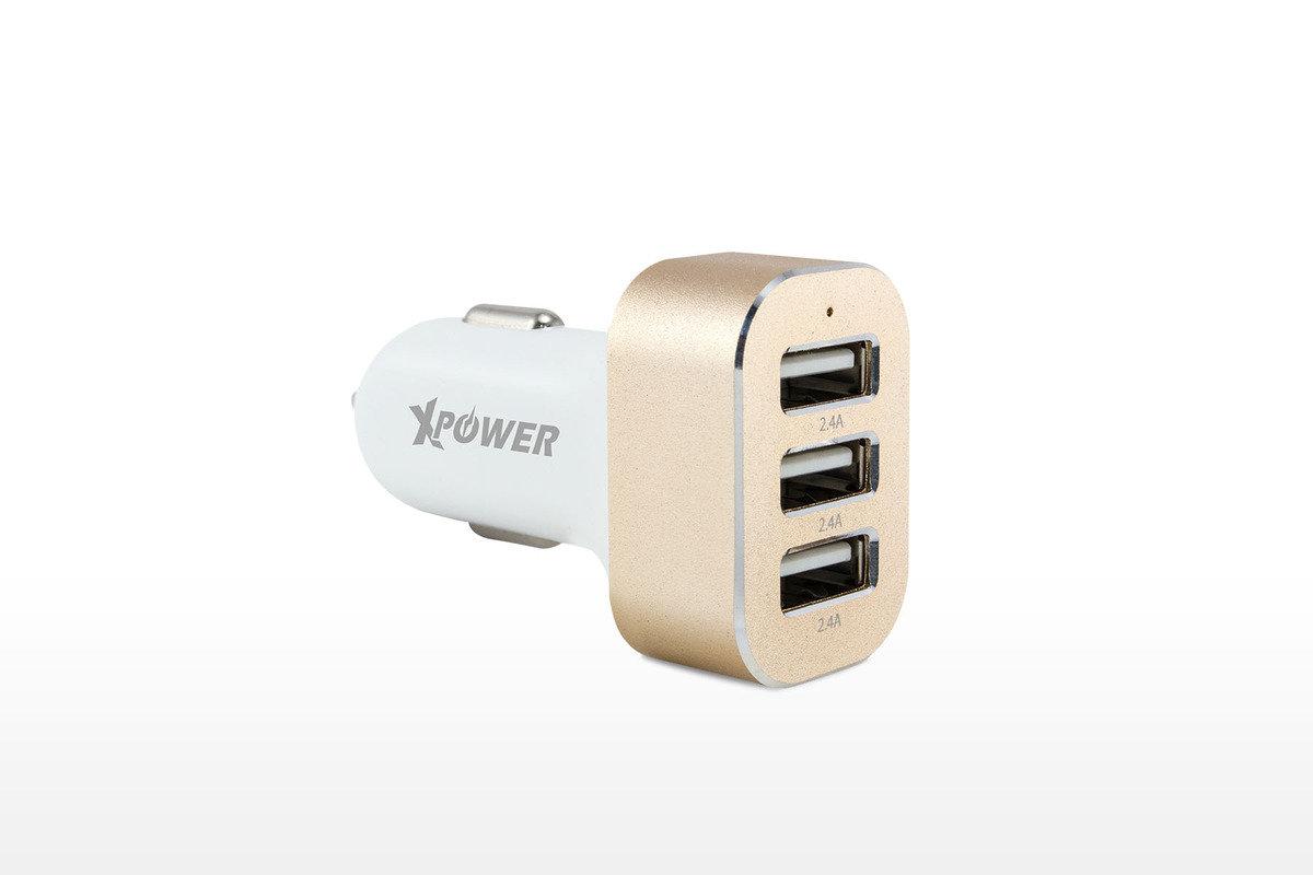 7.2A 3 USB 汽車充電器 - 白 / 金