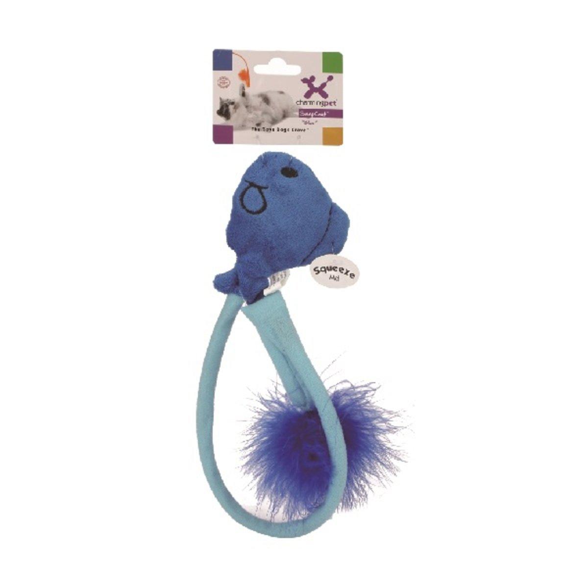 寵物彈力羽毛逗貓棒 - 魚、藍色