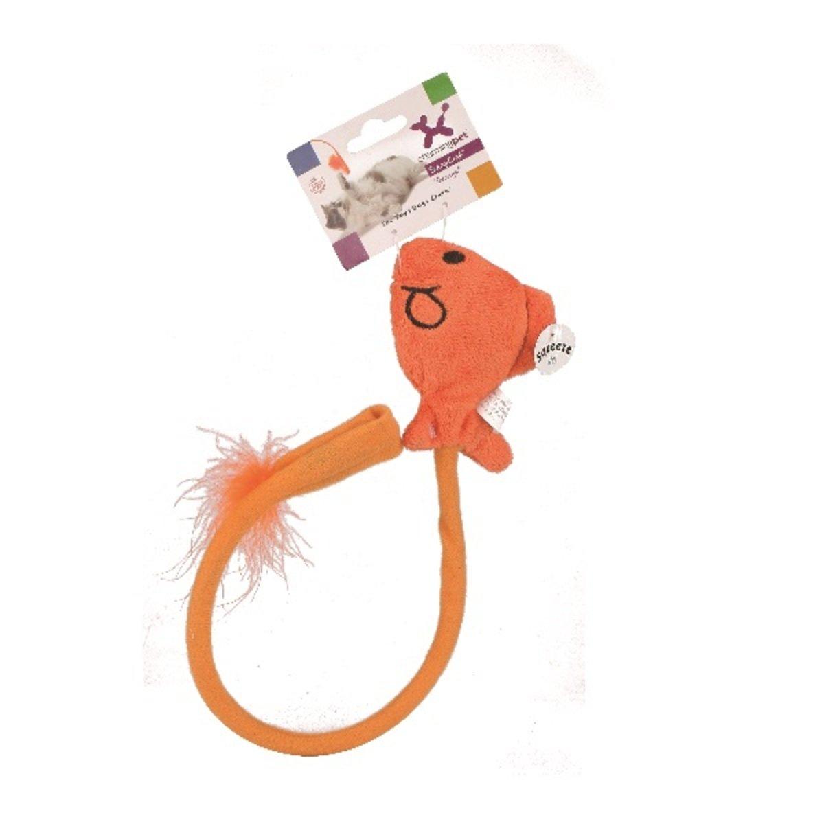 寵物彈力羽毛逗貓棒 - 魚、橙色