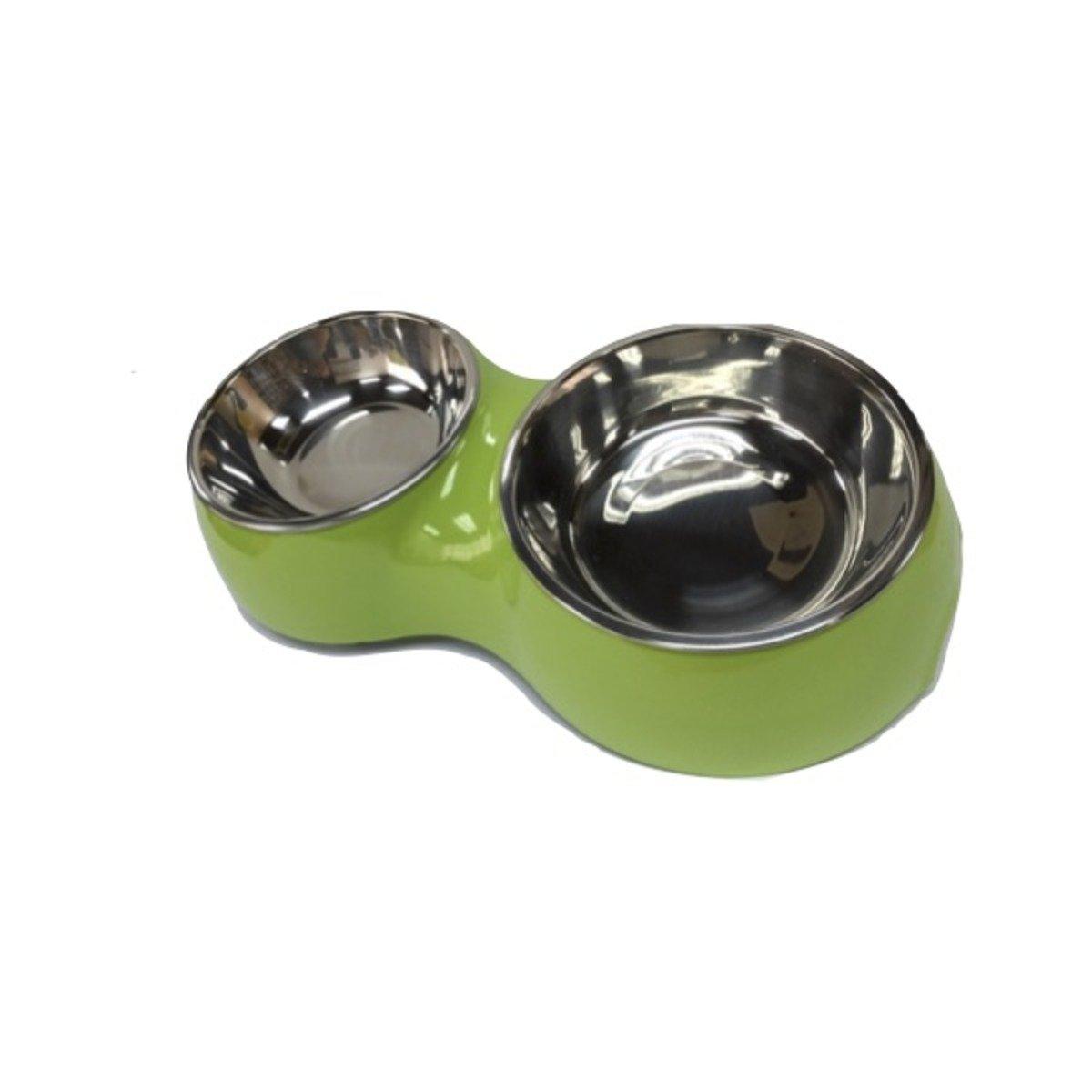 可折式雙碗糧碗(綠)