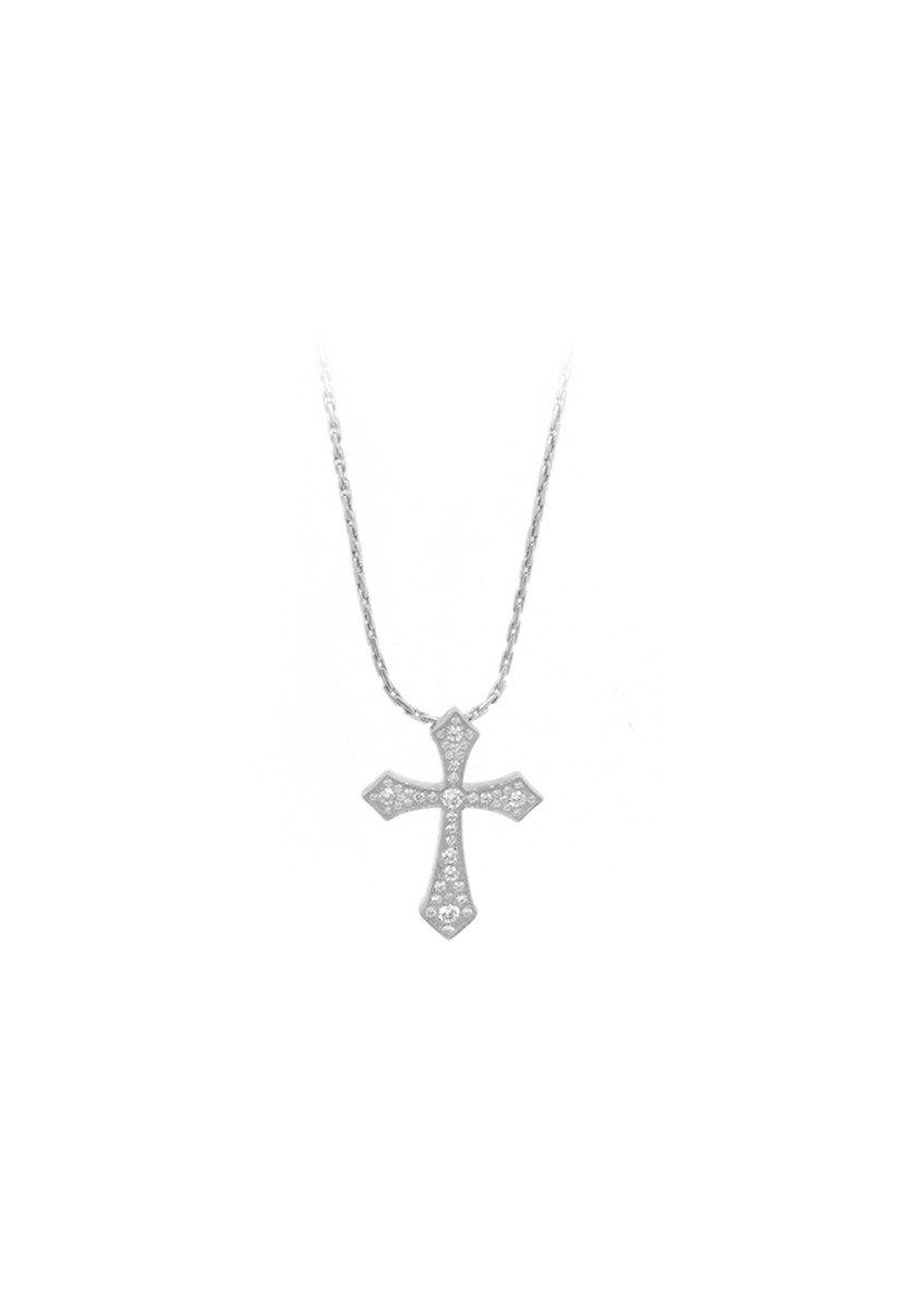 精鋼鑲晶鑽十字架項鍊
