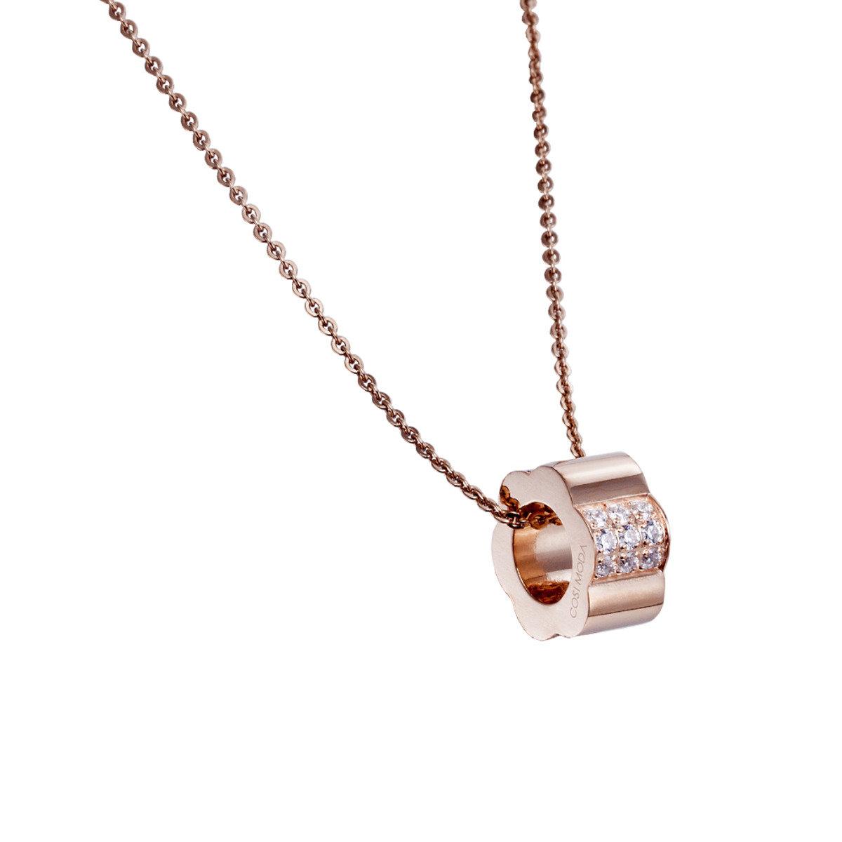 精鋼鑲晶鑽玫瑰金花環形項鍊