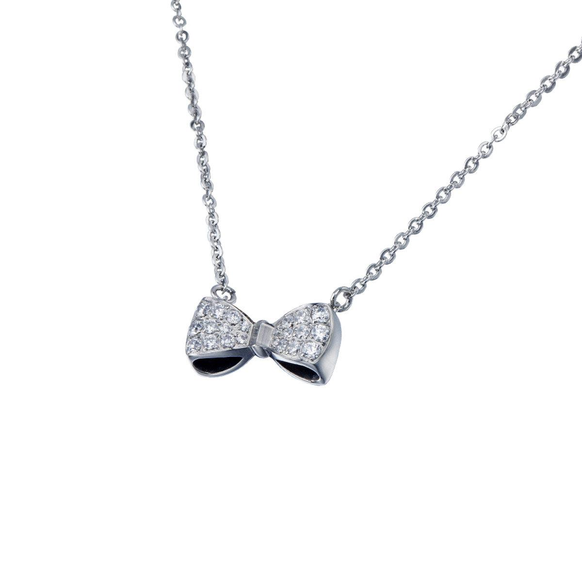 精鋼鑲晶鑽蝴蝶結項鍊