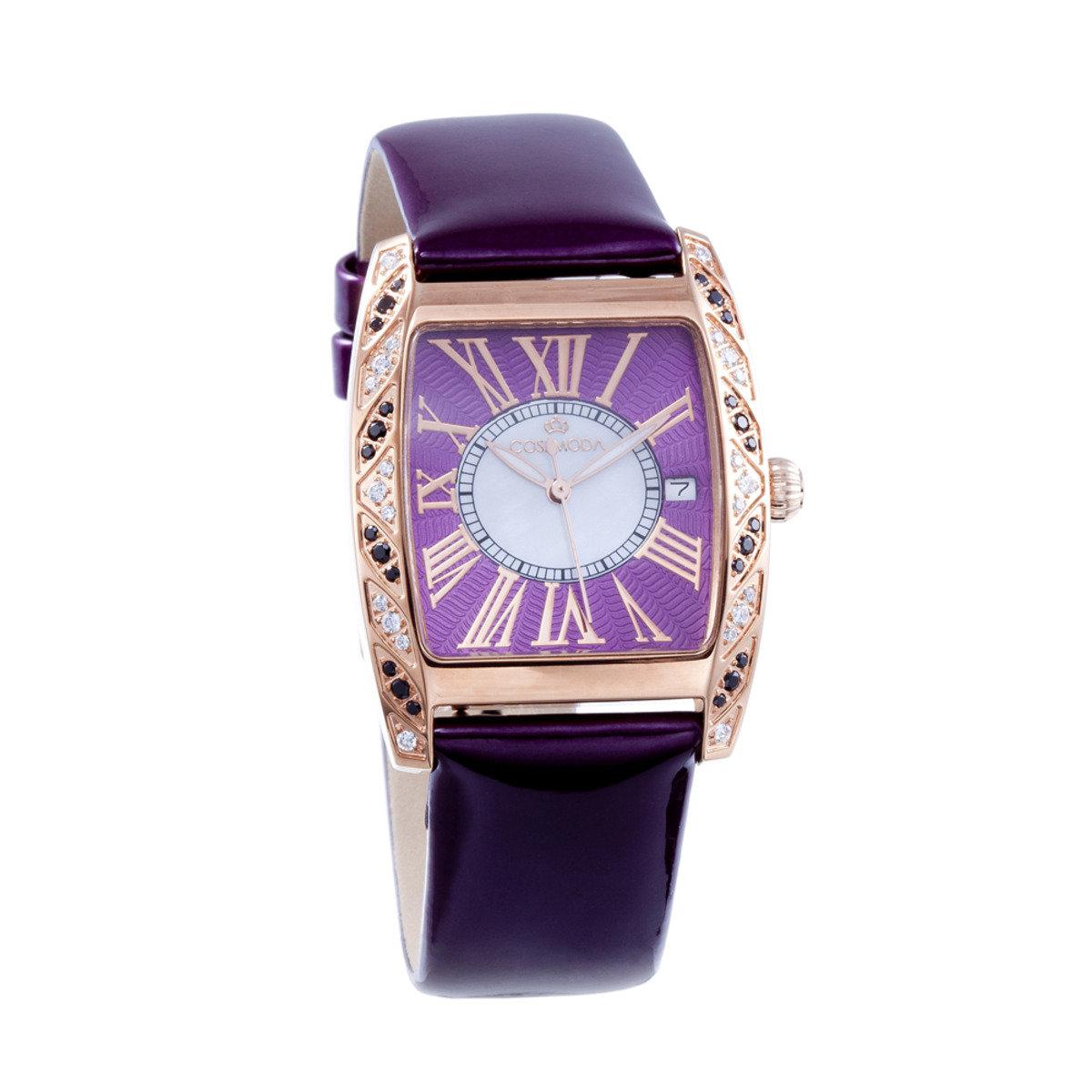 真皮 玫瑰金 精鋼 腕錶-優雅