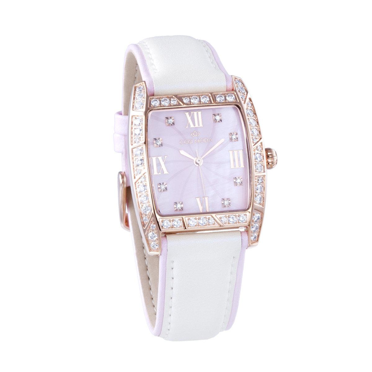真皮 玫瑰金 精鋼 腕錶-簡潔