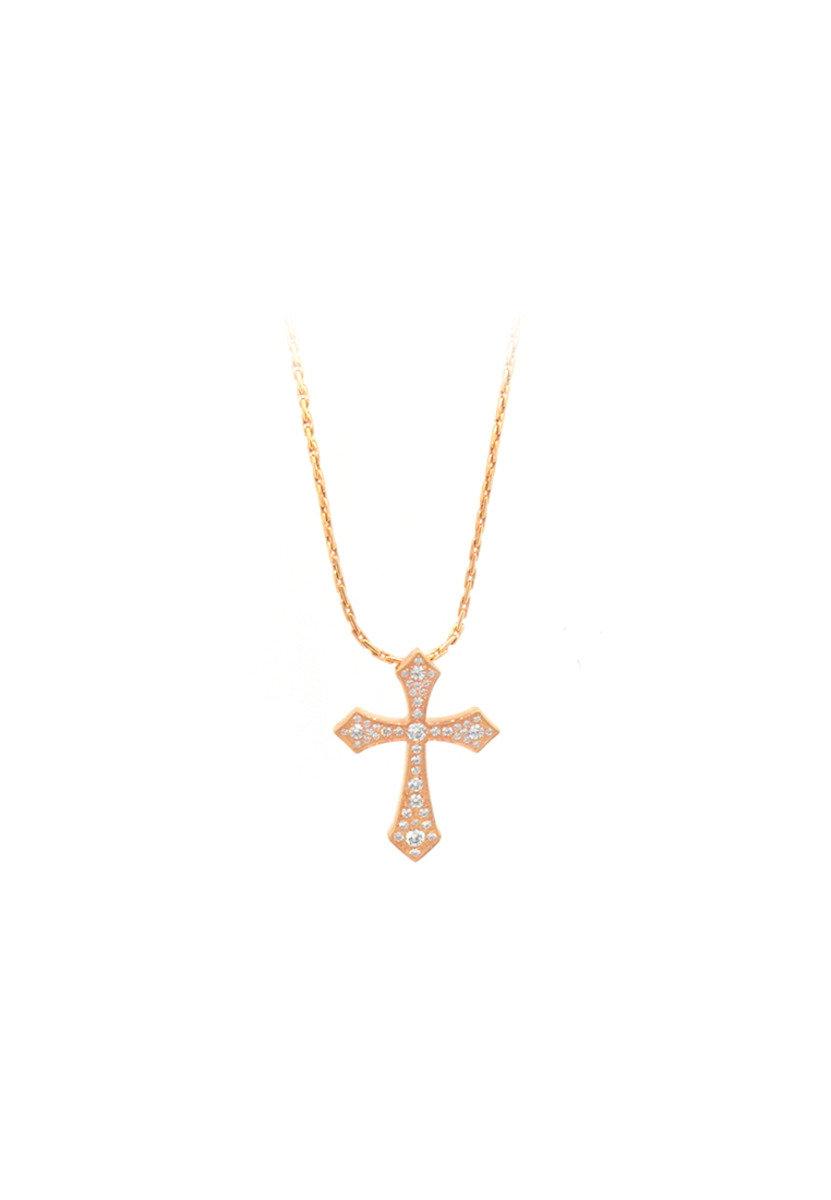 精鋼鑲晶鑽玫瑰金十字架項鍊
