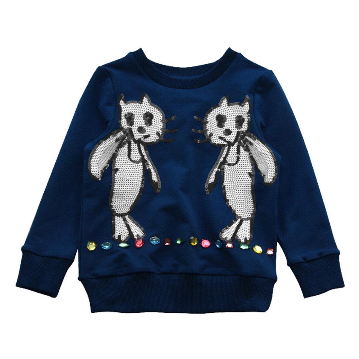 Lovie珠片小貓寶石衛衣(藍色)