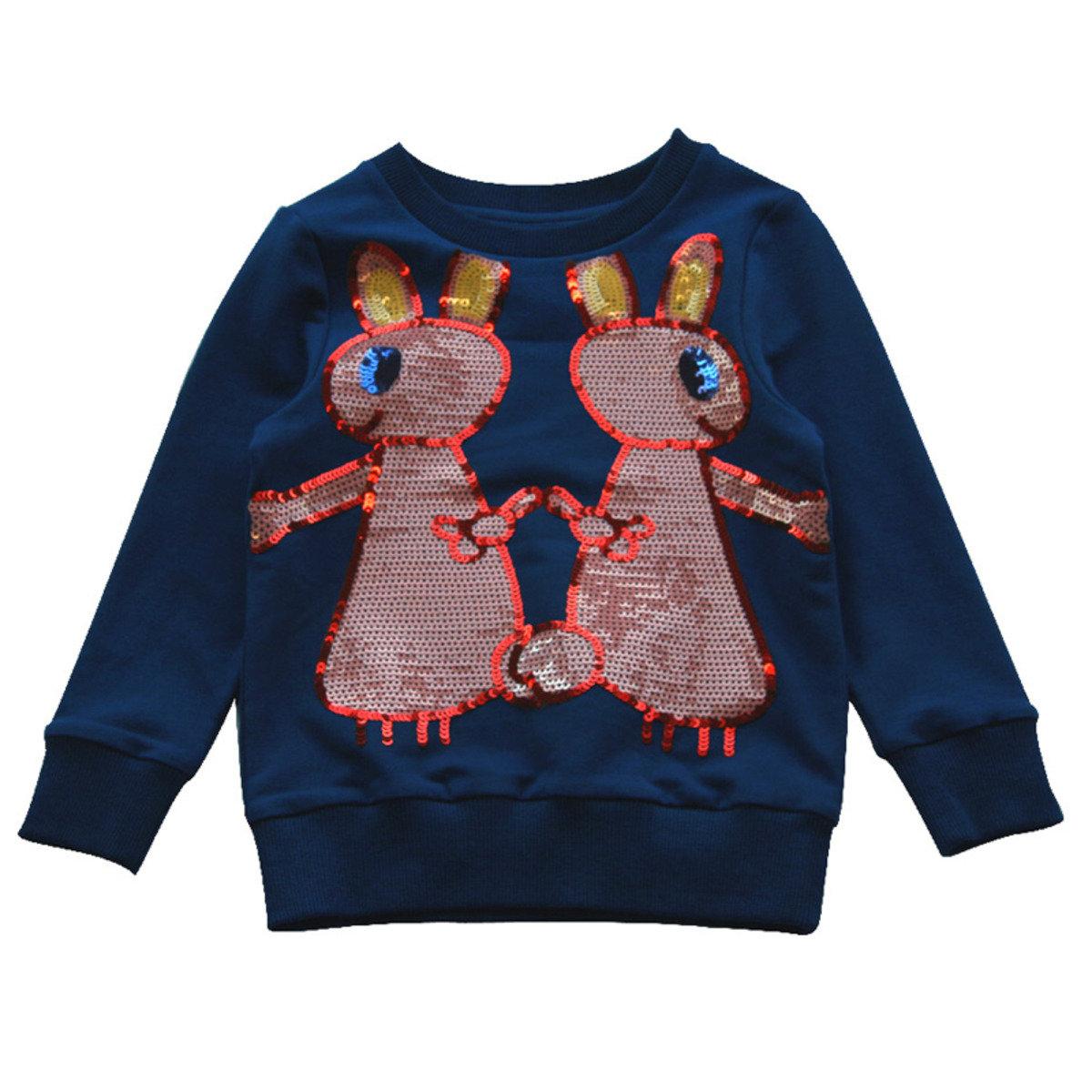 Lovie可愛珠片小兔衛衣(藍色)