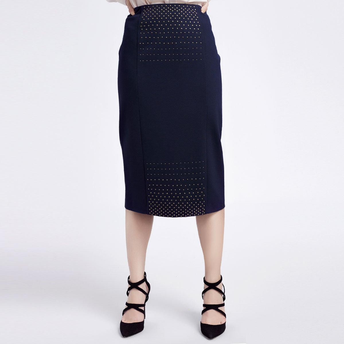 深藍色中長半截裙