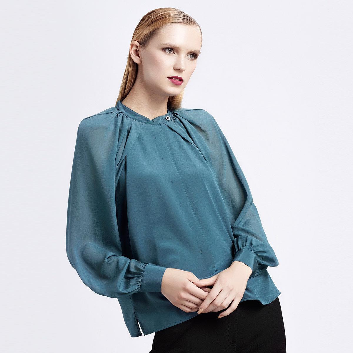 優雅藍色100%真絲襯衫