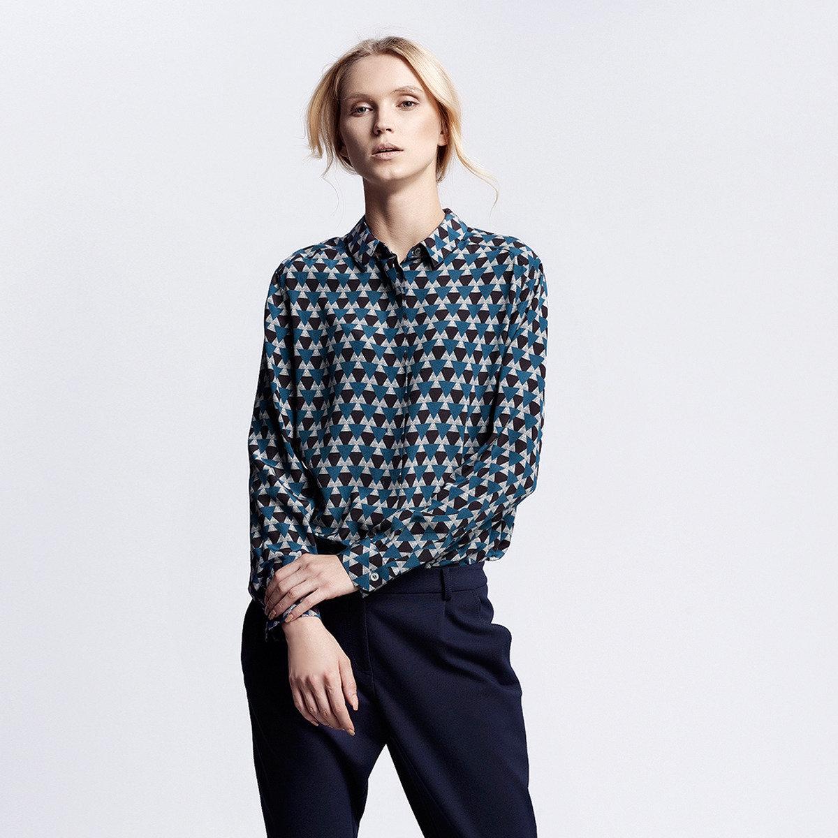 簡潔藍色迷彩印花100%真絲襯衫