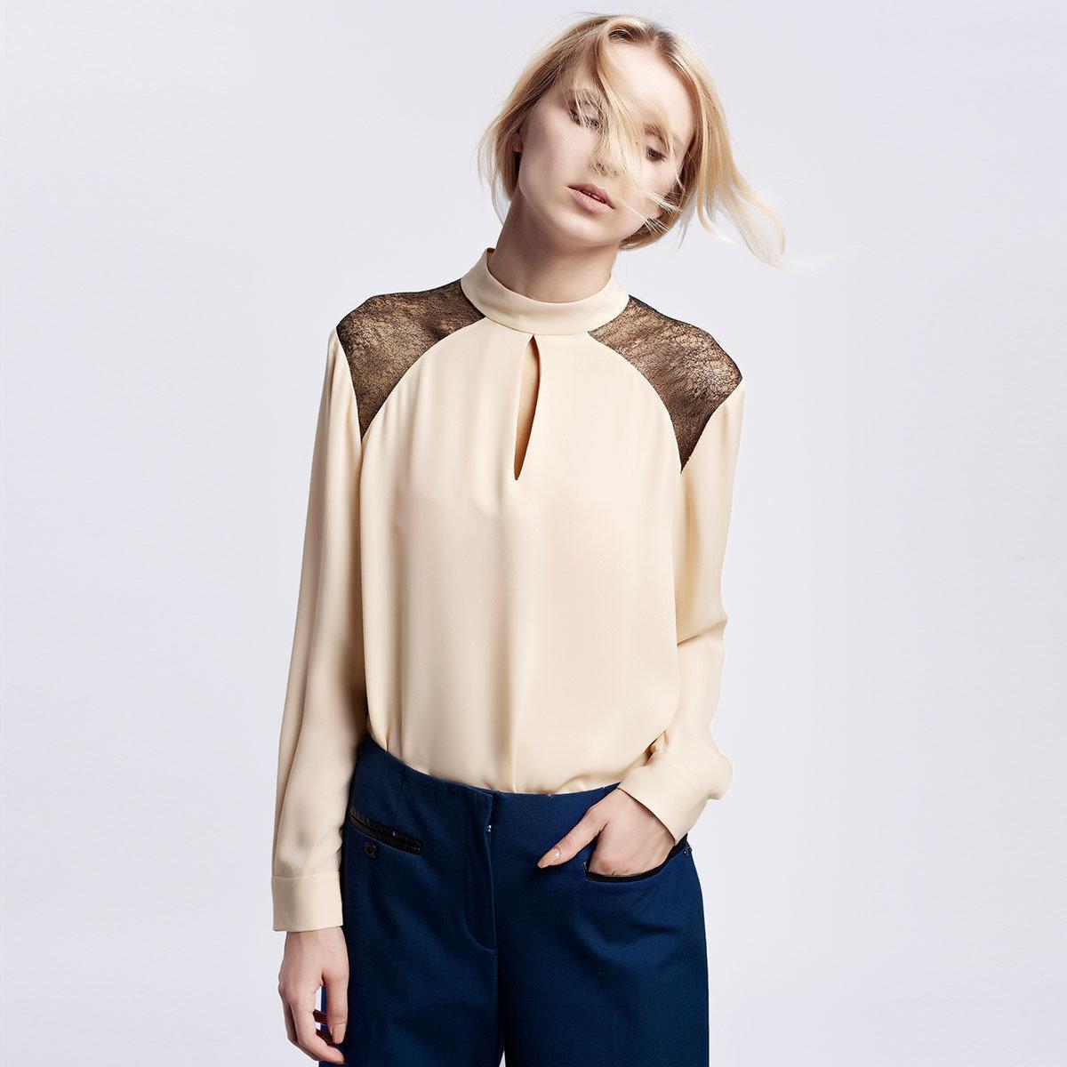 優雅粉色蕾絲拼接100%真絲襯衫