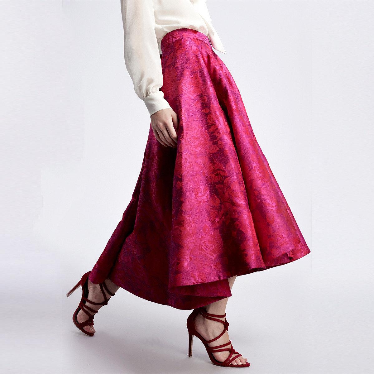 桃紅提花長身半截裙