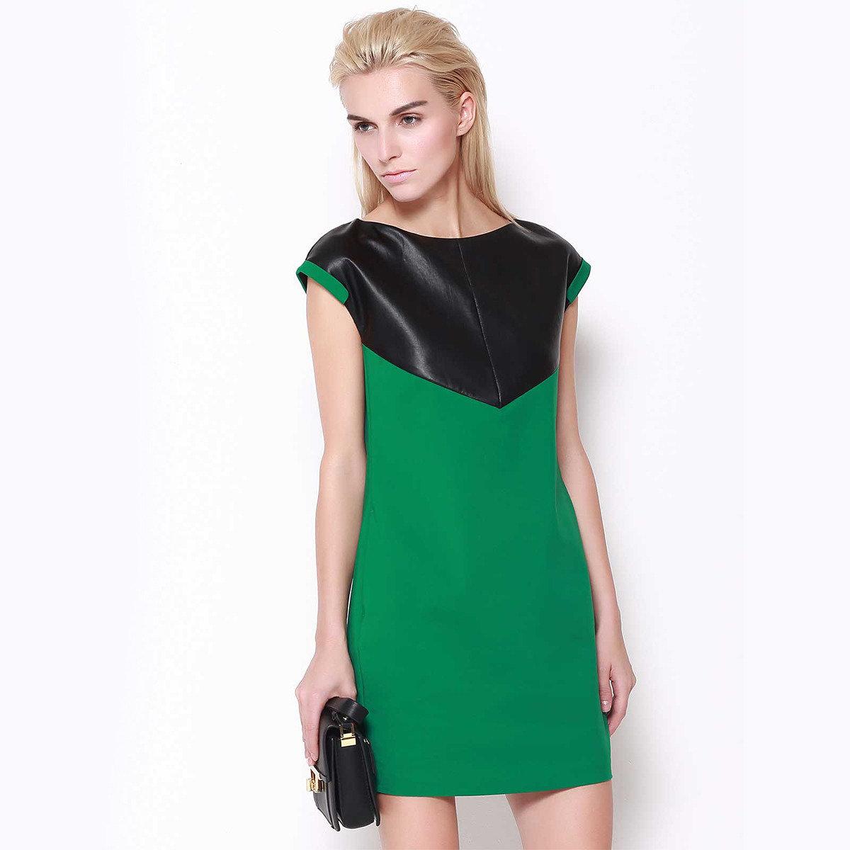 綠色拼接連身裙