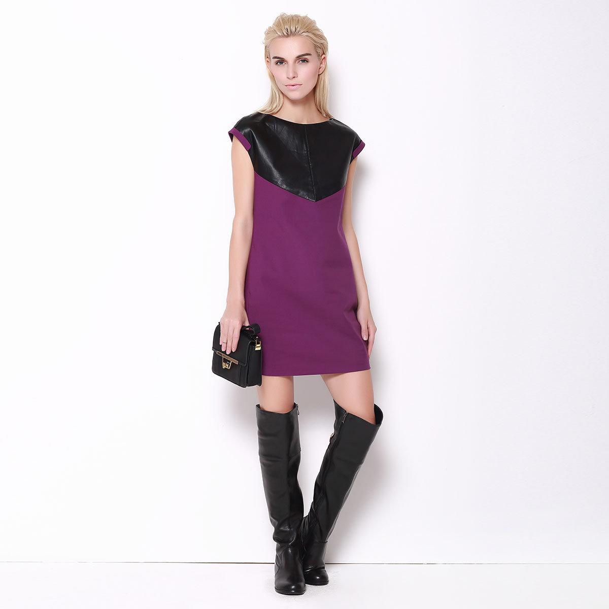 紫色拼接連身裙