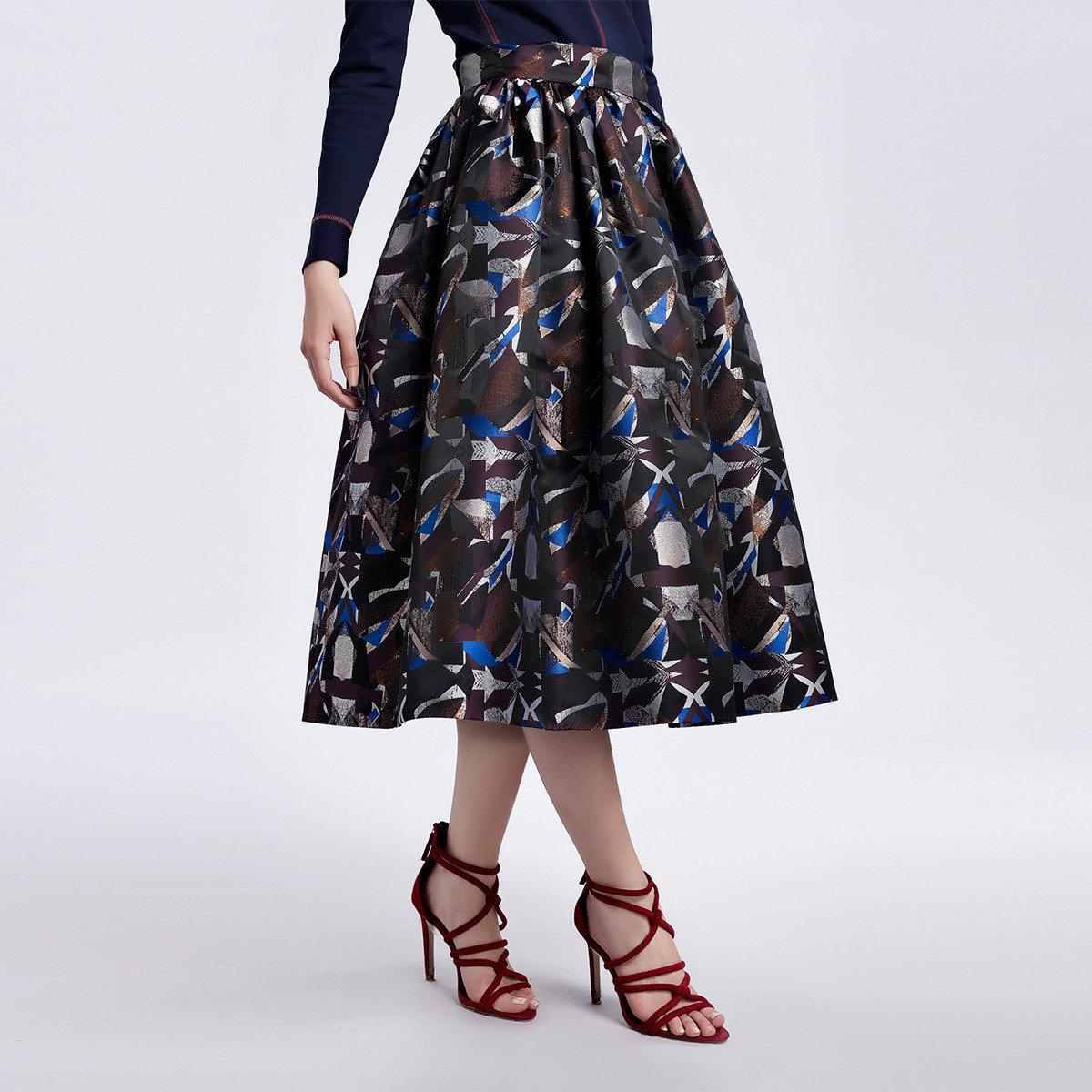 抽象提花立體裙擺半截裙