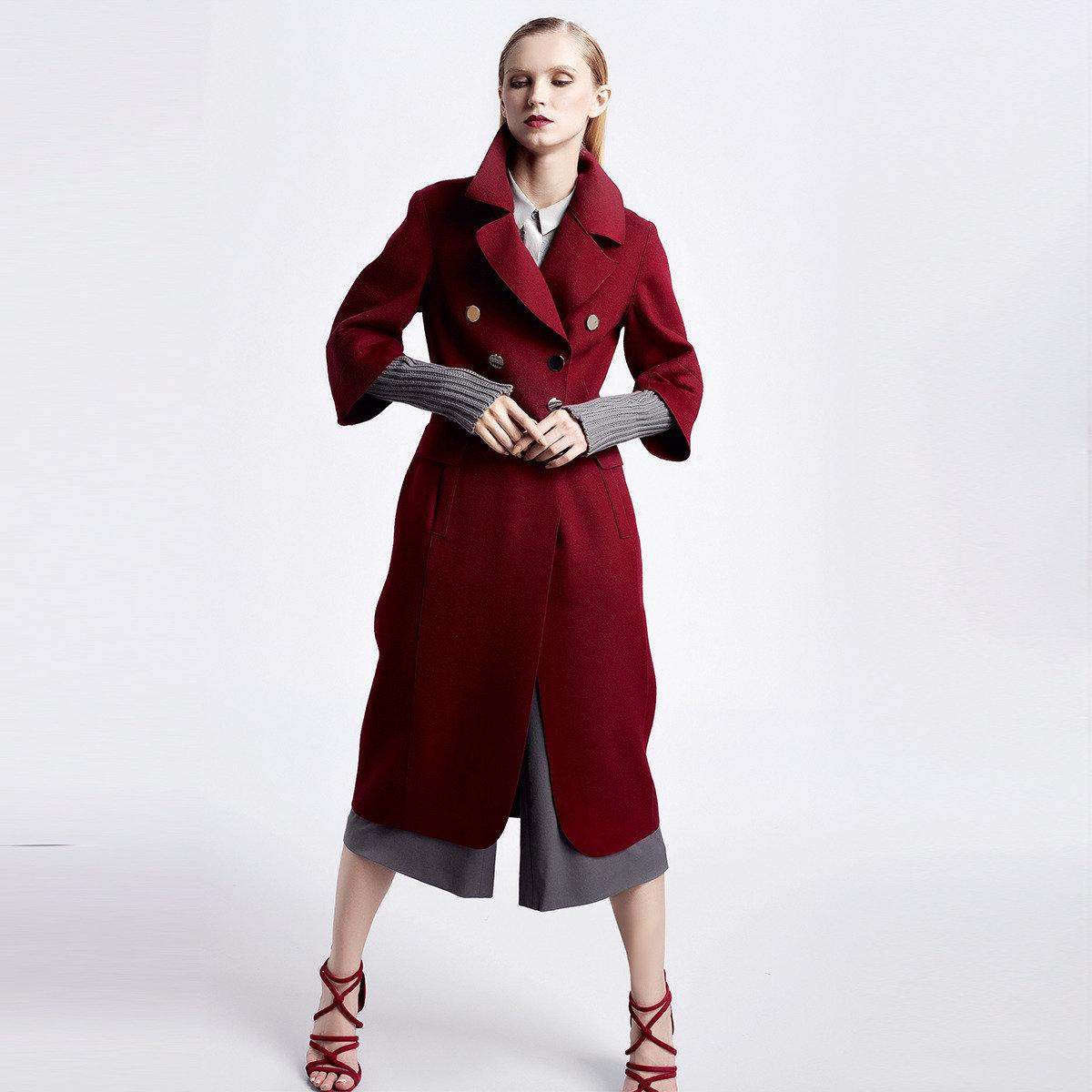 兩穿羊毛針織袖長大衣