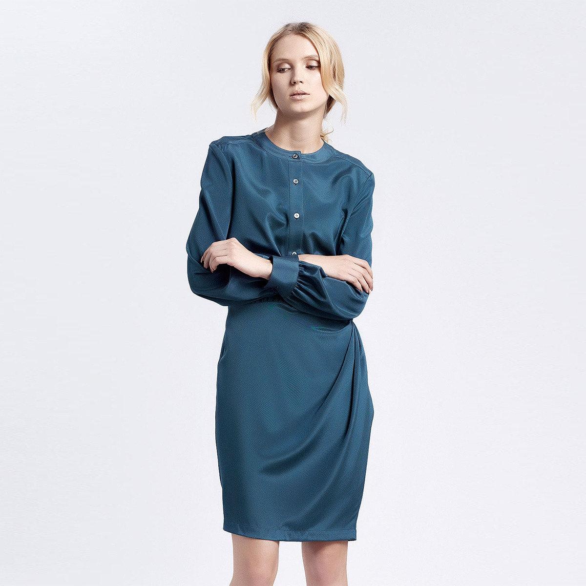 真絲純色連衣裙