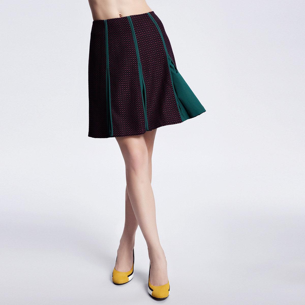 寬褶撞色半身裙