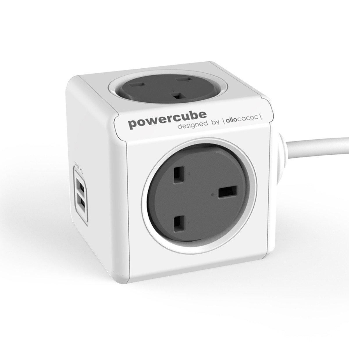 荷蘭 Allocacoc Powercube 4 插頭連2 USB (灰)