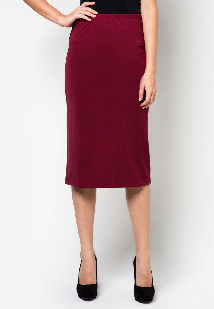 棗紅色及膝裙