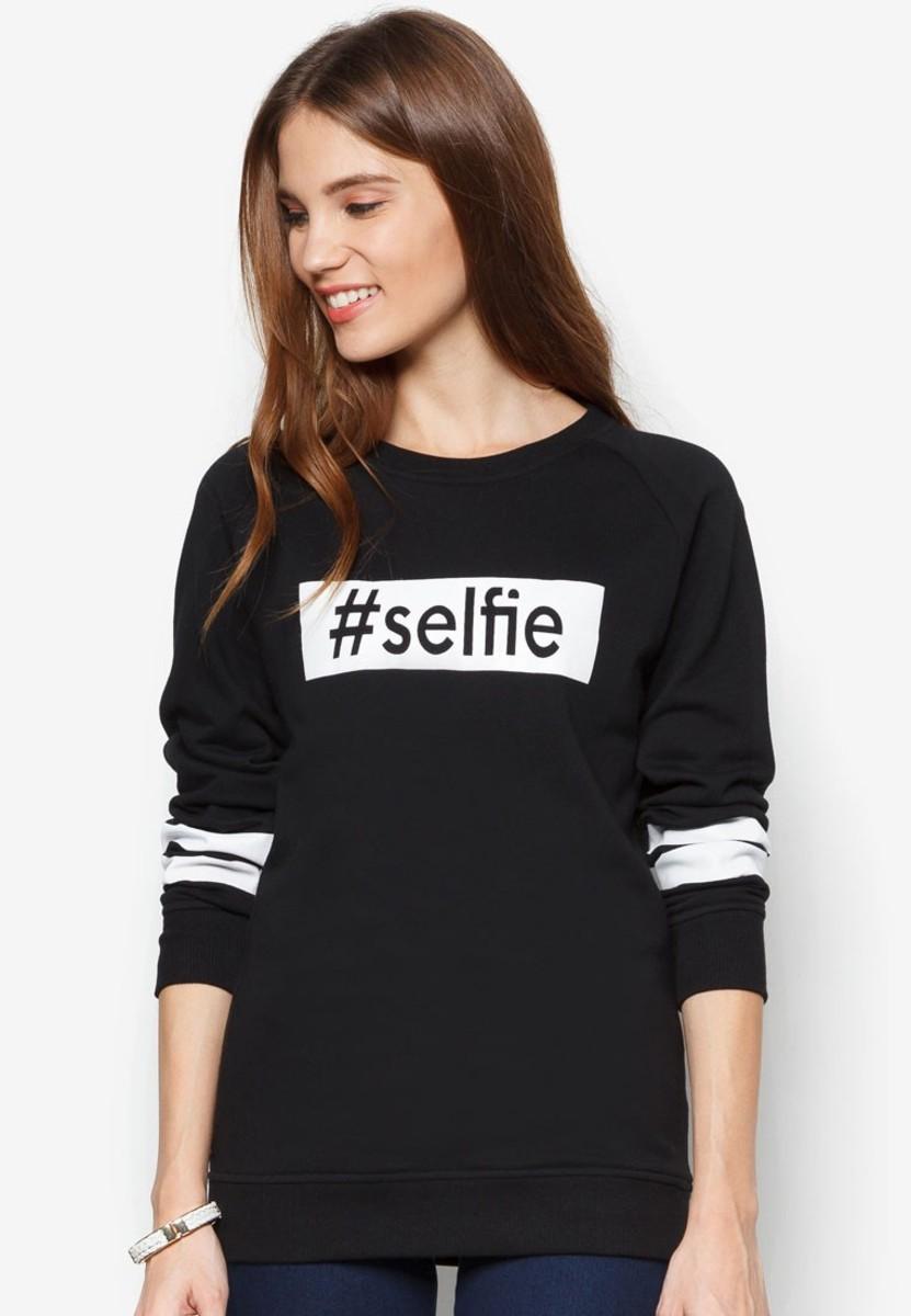 黑色Selfie衛衣