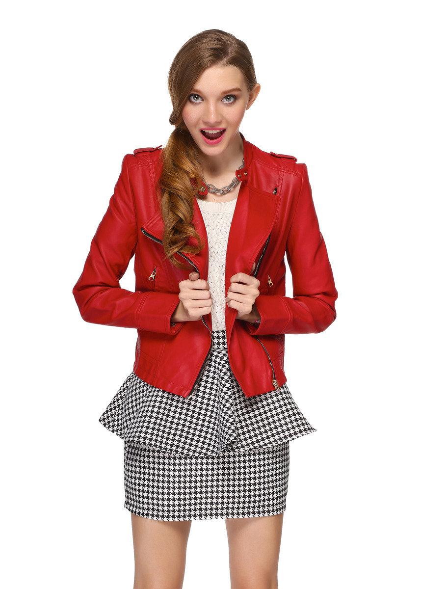 紅色風機車皮衣外套