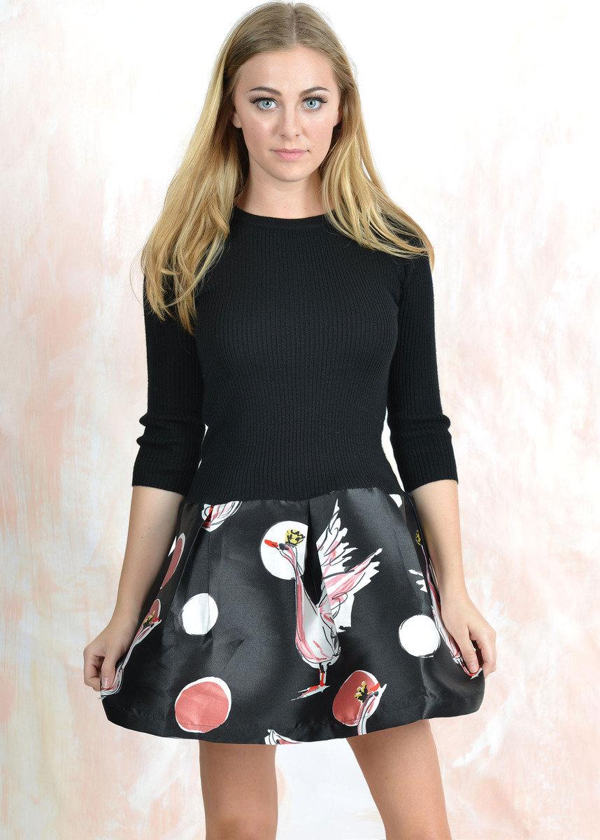黑色印花裙