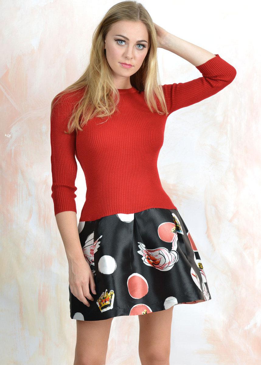 紅色印花裙