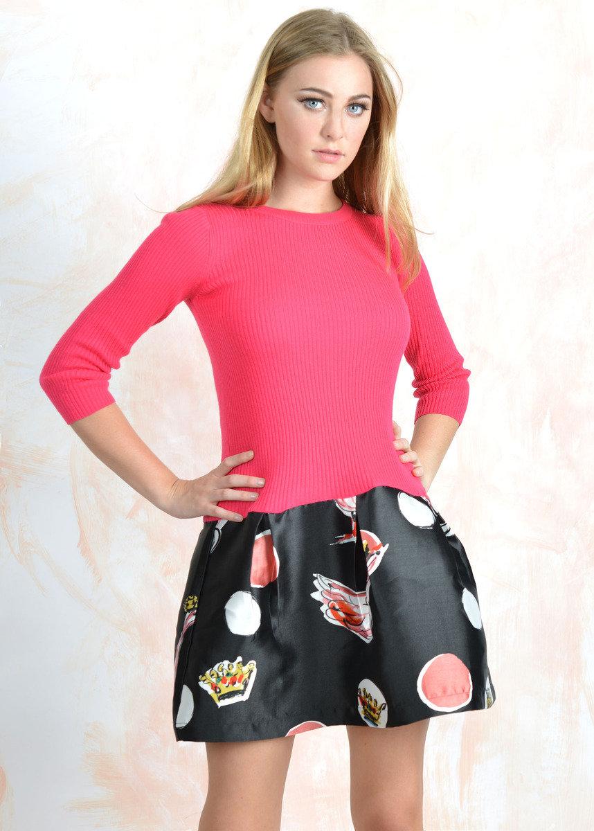 粉紅色印花裙