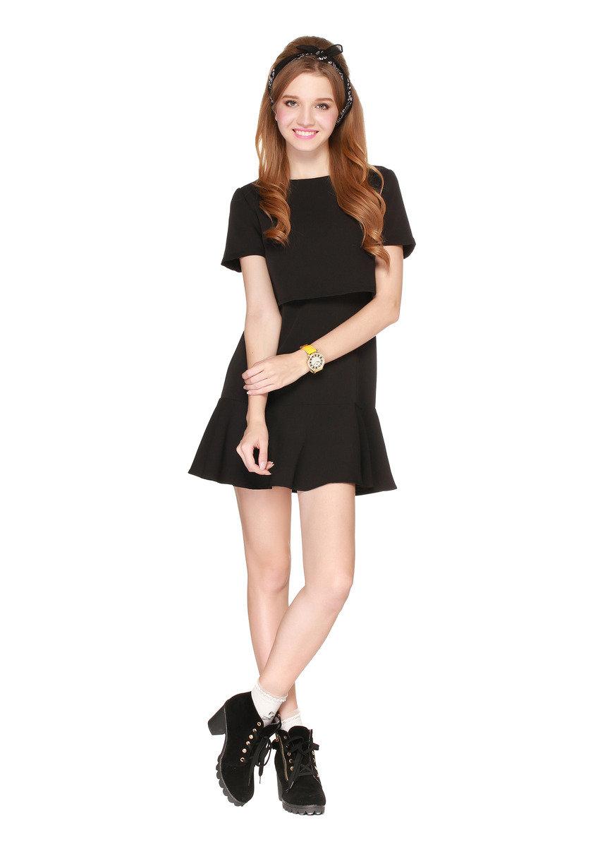 黑色短袖連身裙