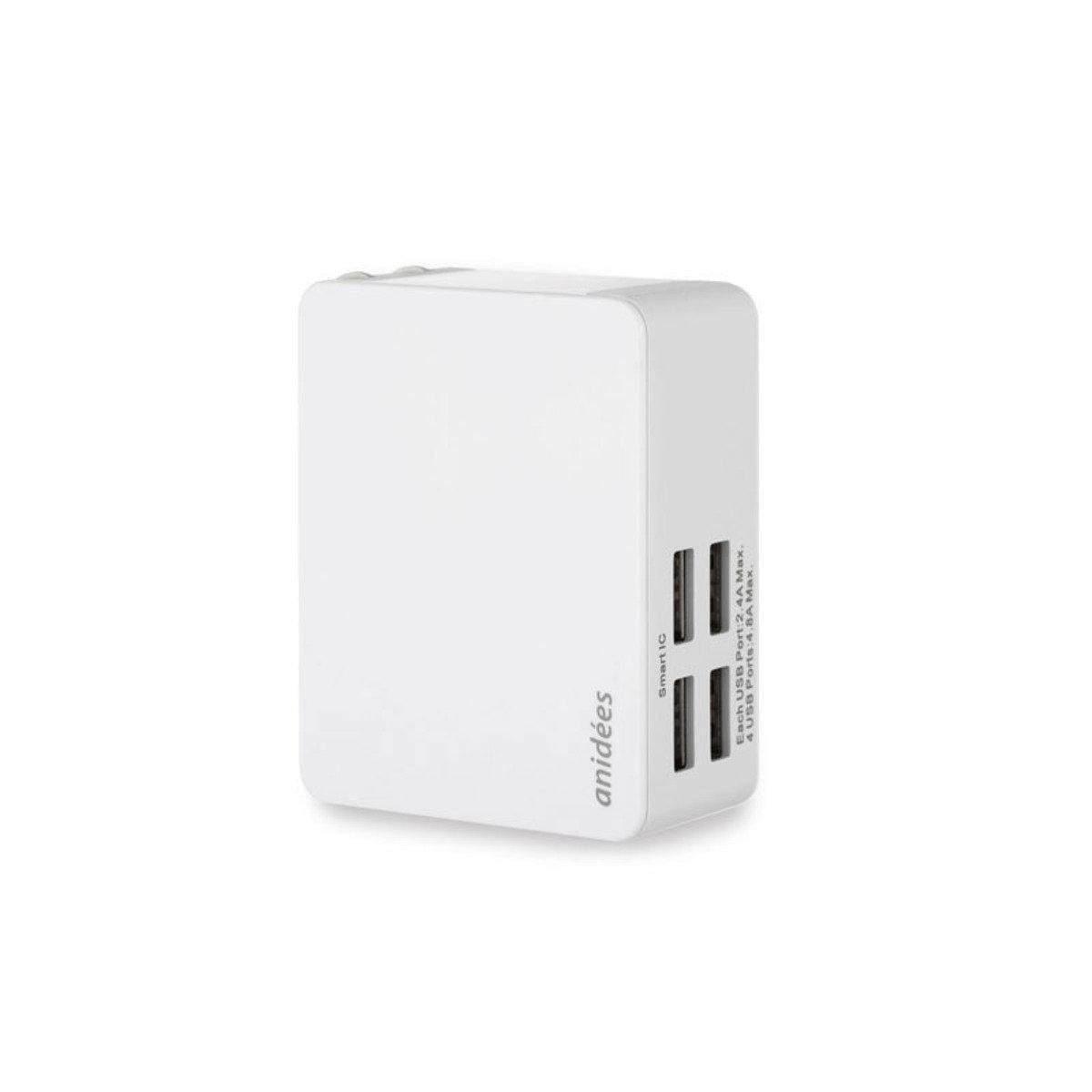 4埠USB 攜帶型智能電源充電器  AI-4CHARGER-W